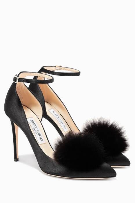 Rosa 100 Black Satin Pumps