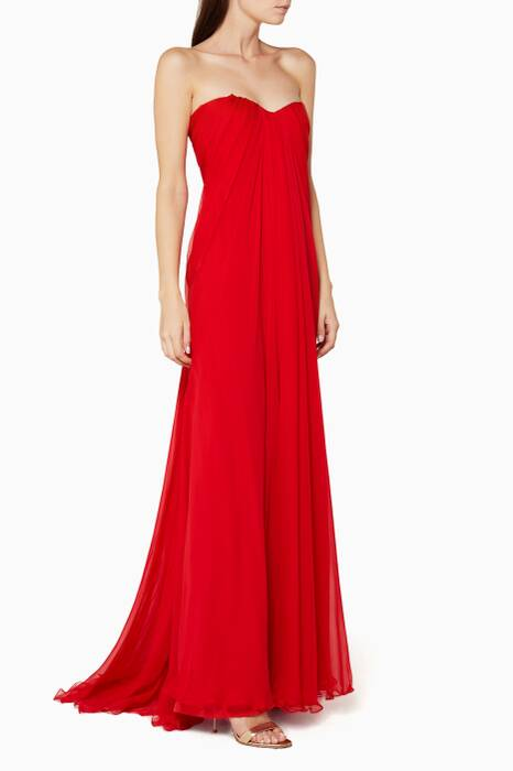 Red Draped Bustier Gown