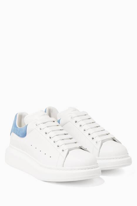 Blue Platform Leather Sneakers