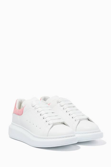 White & Pink Leather Oversized Sneakers