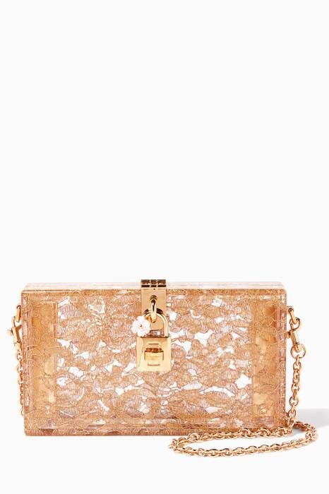 Gold Plexi & Lace Evening Clutch