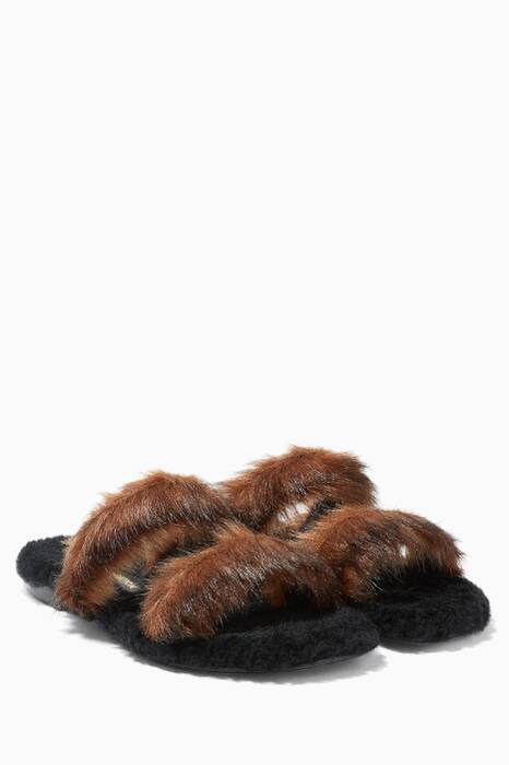 Brown Vail Mink Faux-Fur Slippers