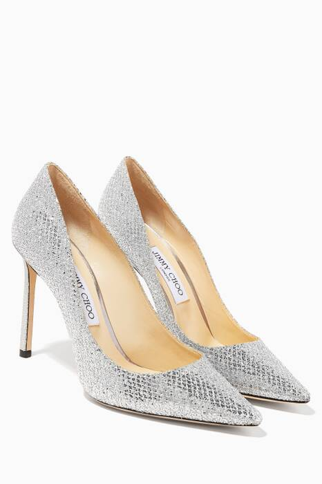 Silver Glitter Fabric Romy Pumps