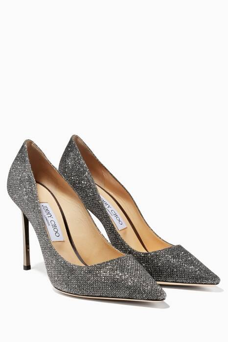 Grey Lame Glitter Romy Pumps