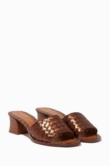 Metallic-Brown Ravello Intrecciato Sandals