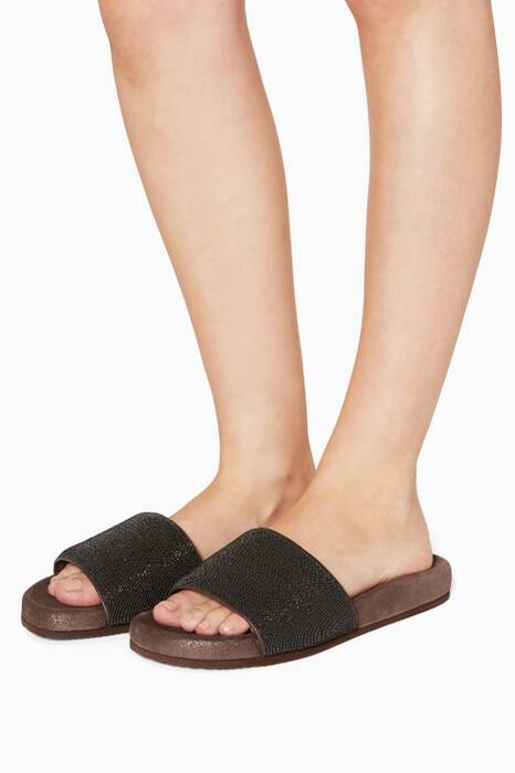 Black Monili Slides