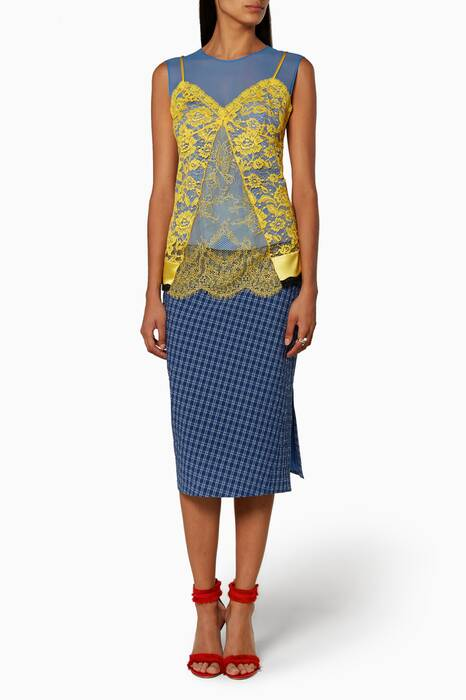 Blue Vic Checked Pencil Skirt