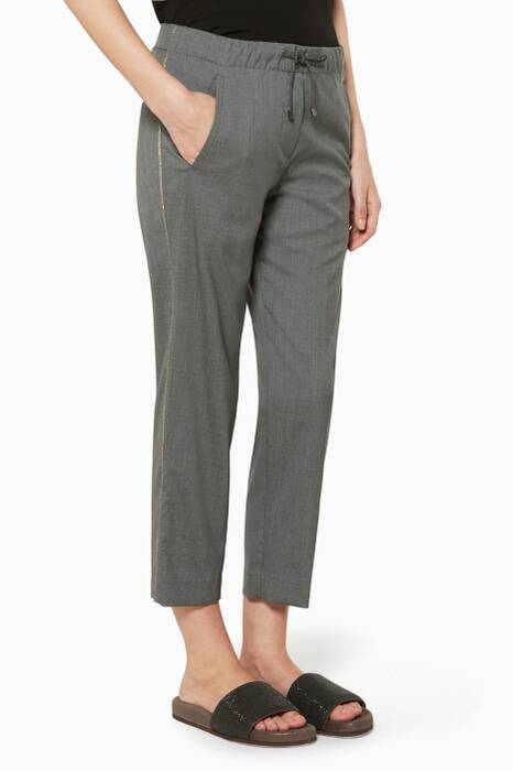 Grey Side-Stripe Pants