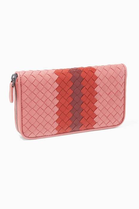 Multi-Colour Intrecciato Zip Around Long Wallet