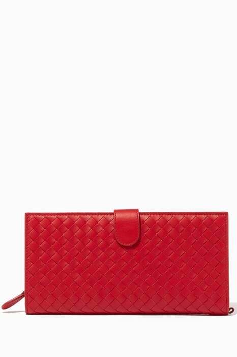 Red Intrecciato Travel Wallet