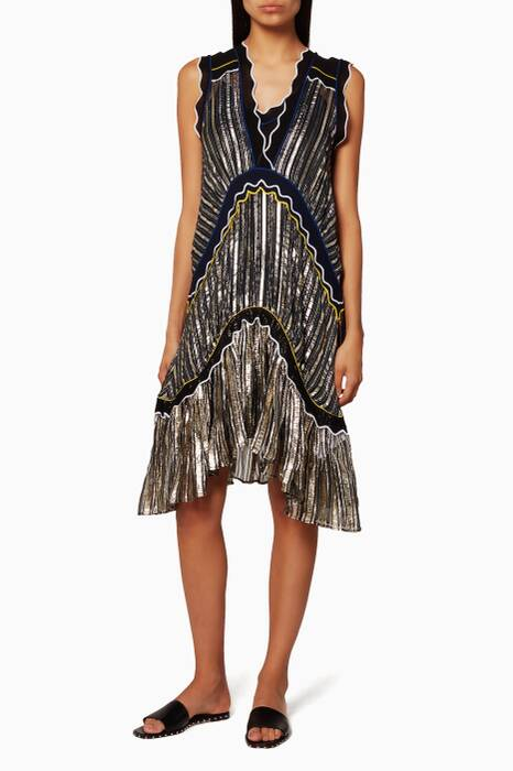 Metallic Chiffon Dress