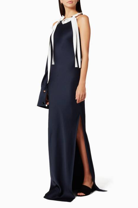 Navy One-Sleeve Gown