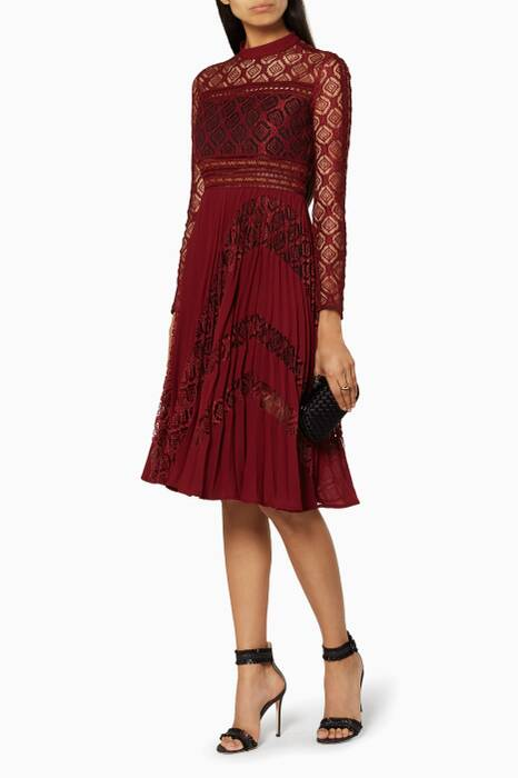 Dark Red Symm Midi Dress