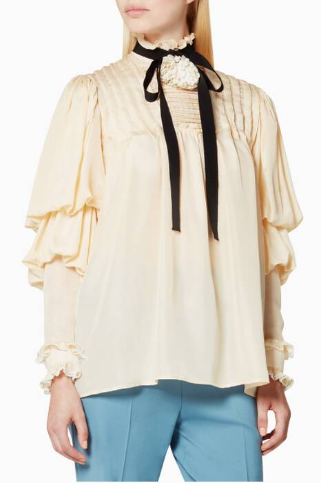 Ivory Pleated Shirt