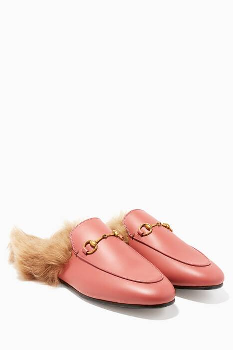 Pink Princetown Backless Leather Loafers