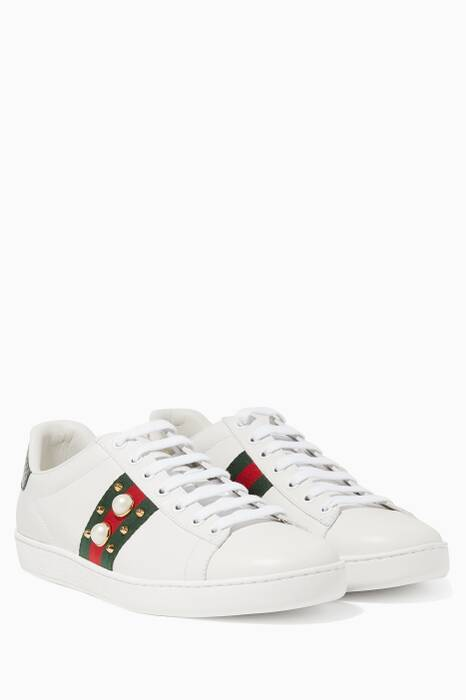 White Ace Studded Leather Low-top Sneakers
