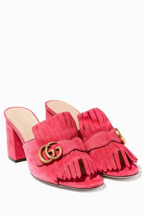 Pink Suede Mid-heel Loafer Sandals