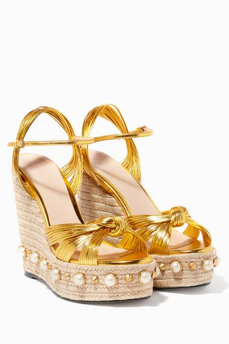 Gold Leather Knot Espadrille