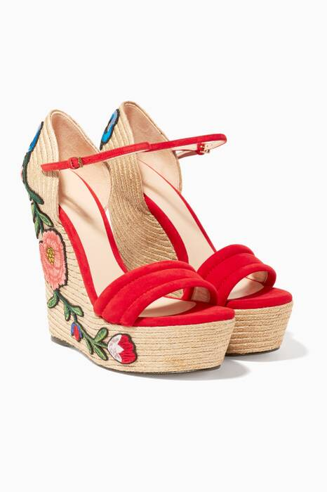 Hibiscus Red Suede Embroidered Platform Espadrille