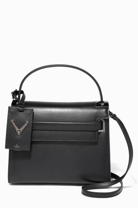 Noir My Rockstud Small Grained Tote Bag