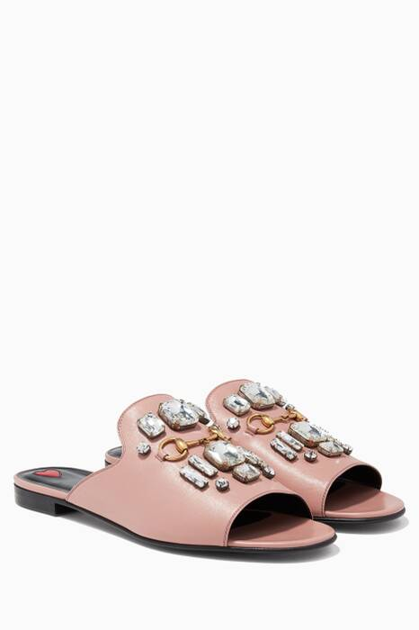 Pastel-Pink horsebit Slip-On Sandal