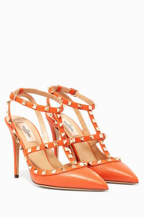 Orange Rockstud Grained Leather Pumps
