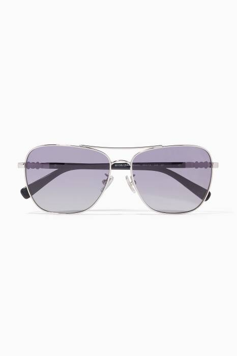 Silver-Black Daisy-Rivet Pilot Sunglasses