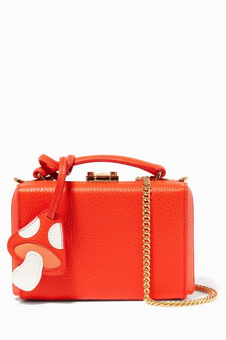 Red Mini Pebbled-Leather Grace Bag