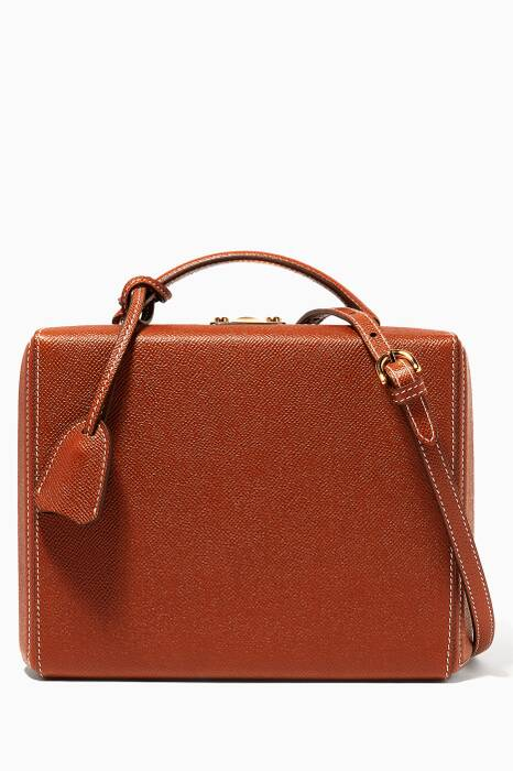 Brown Large Saffiano Leather Grace Box Bag