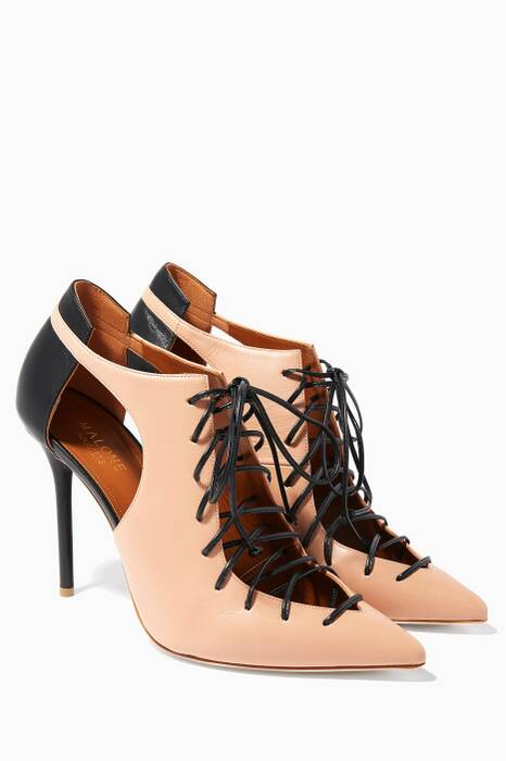 Nude-Black Montana Lace-Up Pumps