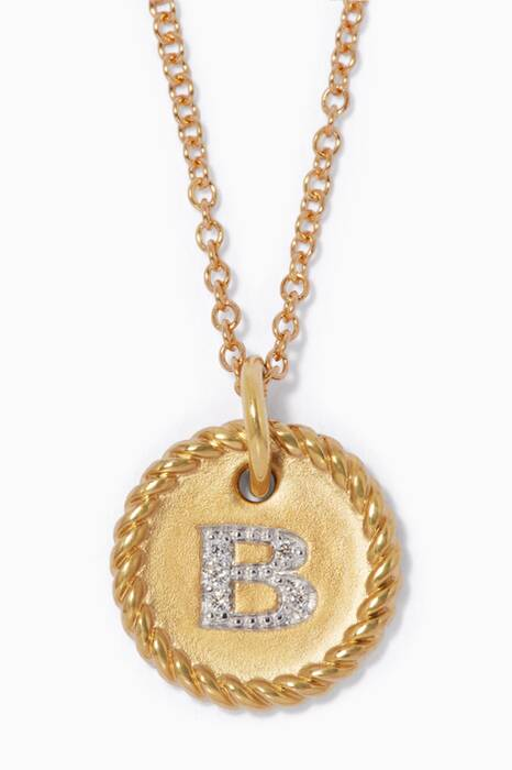 18kt Gold B Initial Charm Necklace with Diamonds