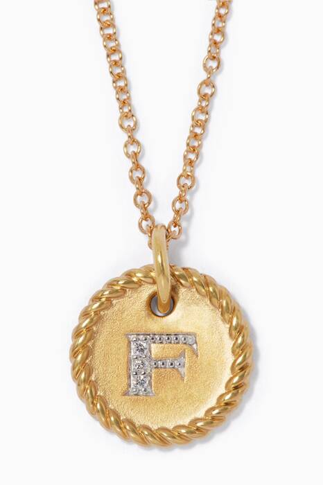 18kt Gold F Initial Charm Necklace with Diamonds