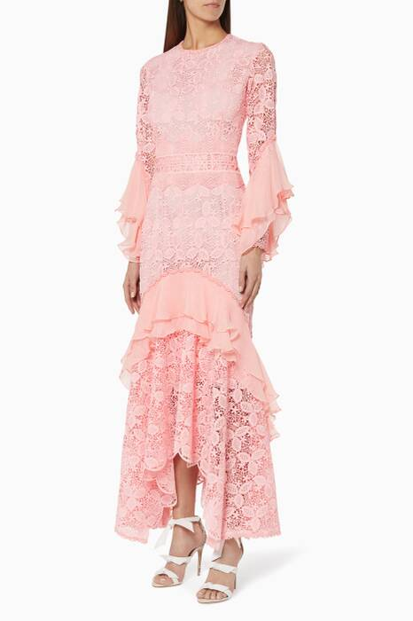 Pink Guipure Lace Gown