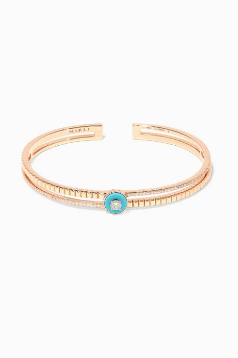 Rose-Gold, Diamond & Turqoise Coco Bangle