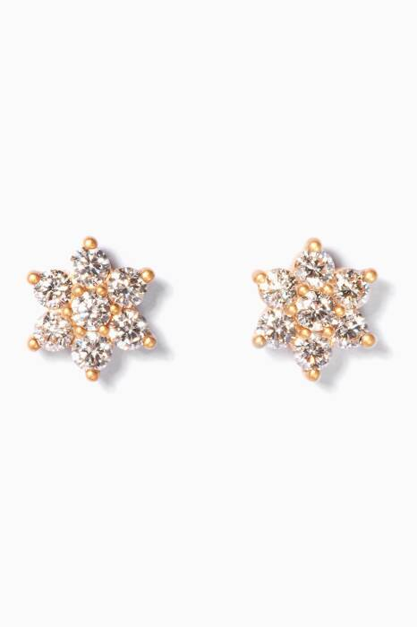 Yellow-Gold & Flower Diamond Earrings