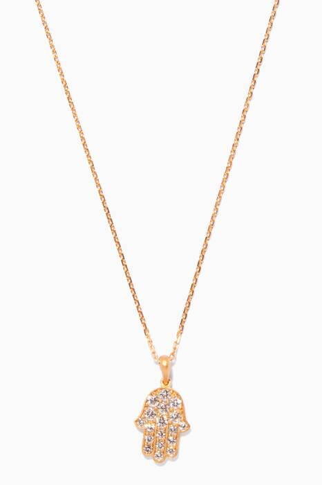Gold Diamond Hand Necklace