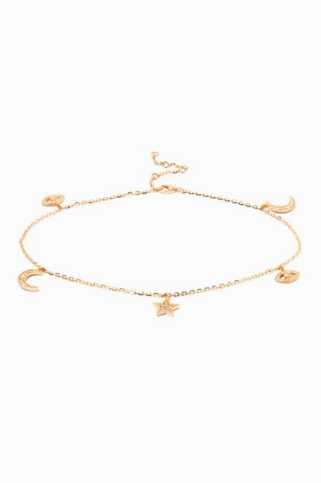 Yellow-Gold & Diamonds Charm Anklet