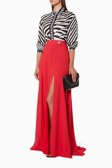 Red Slit-Front Maxi-Skirt