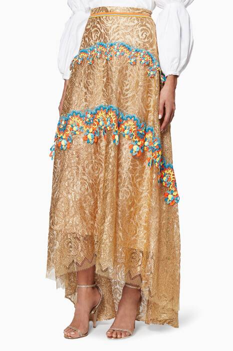Gold Embroidered Lace Skirt