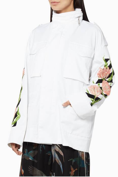White Diagonal Tulips M65 Jacket