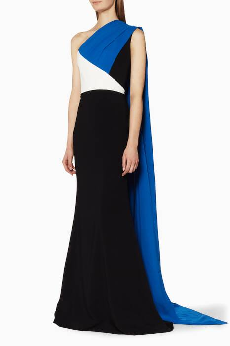 Colour Block Gown With Over The Shoulder Cape