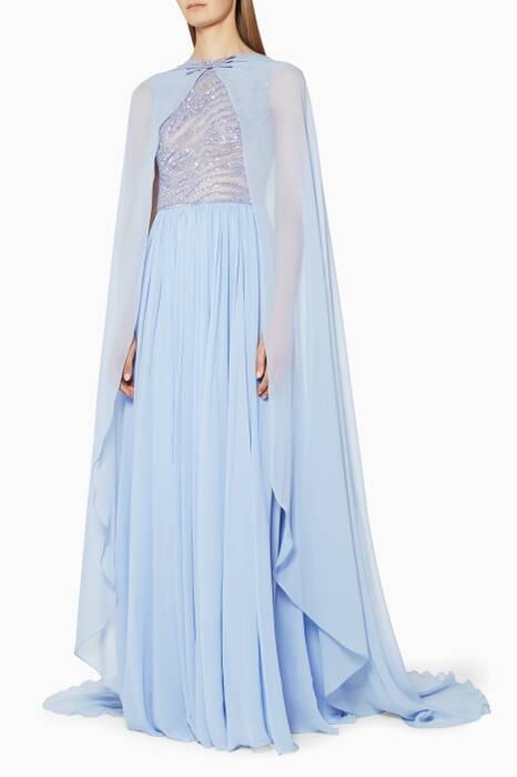 Pastel Sequinned Gown With Cape
