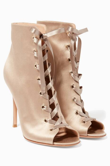 Praline Lace-up Satin Booties