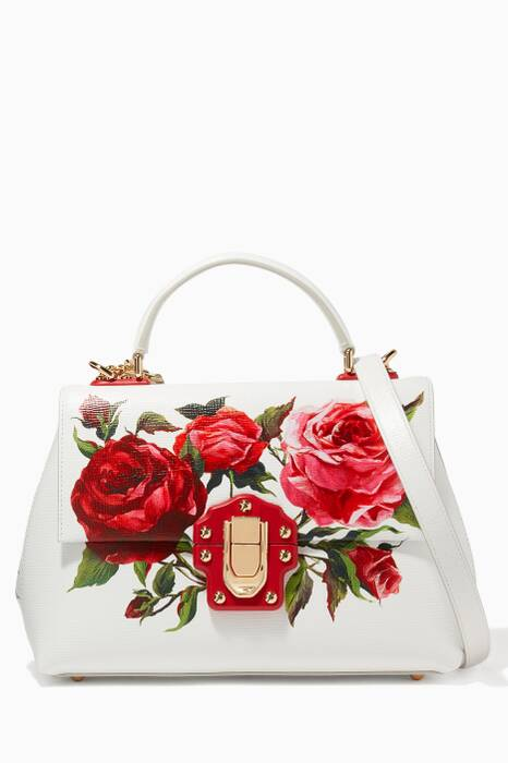 White Medium Lucia Rose Printed Shoulder Bag