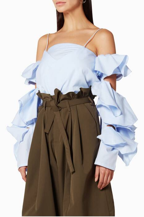 Ice-Blue Cut-Out Ruffle Blouse
