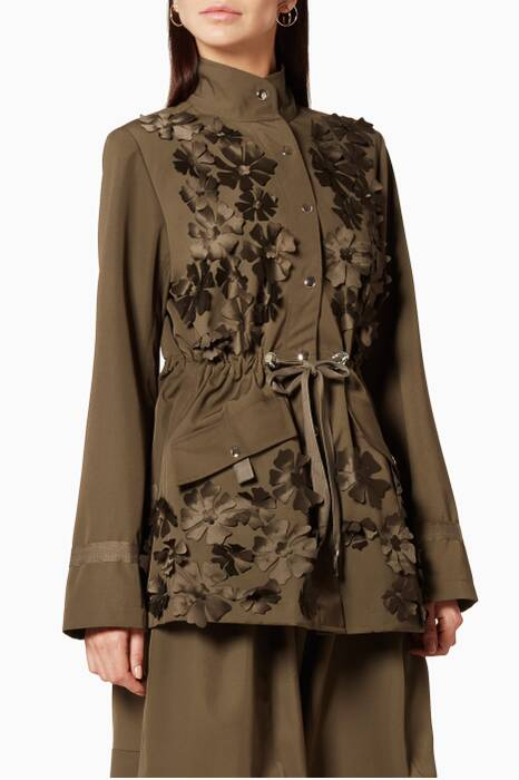 Khaki Gaberdine Embroidered Parka