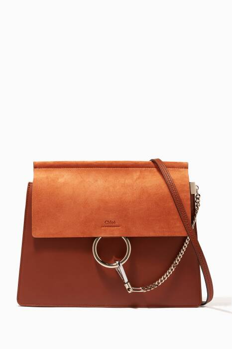 Classic Tobacco Medium Faye Suede Shoulder Bag