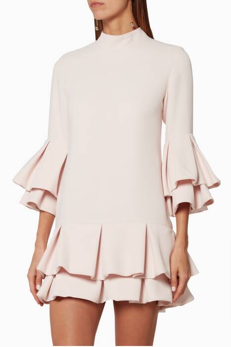 Pink Ruffled-Trim Mini Dress