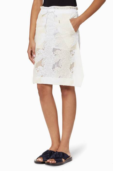 Ivory Pineapple Embroidered Skirt