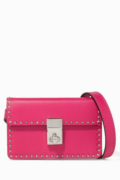 Fuchsia Mini Stud Stitching Leather Crossbody Bag